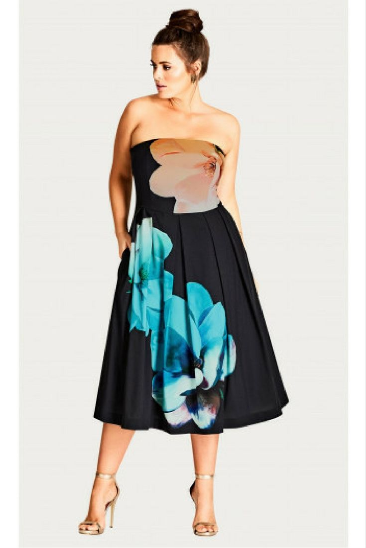City chic floral print strapless dress plus size plussize aff