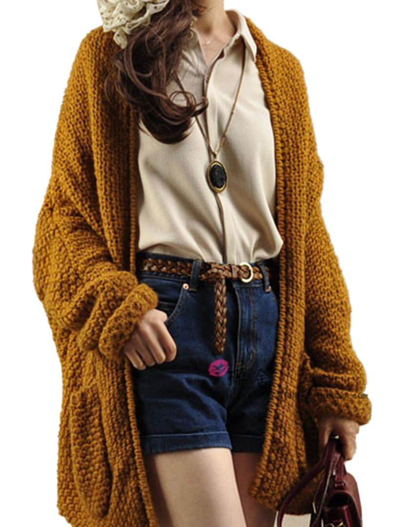Cozy Weekend Fashion! Mustard Khaki Open Front Cardigan With Oversized Pocket   Choies