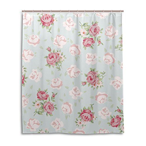 Alaza Shabby Chic Vintage Elegant Floral Patternpolyester Waterproof Fabric Cozy Shower Curtain Fun Home Creation Decor Bathroom Curtain Wit Pink Shower Curtains