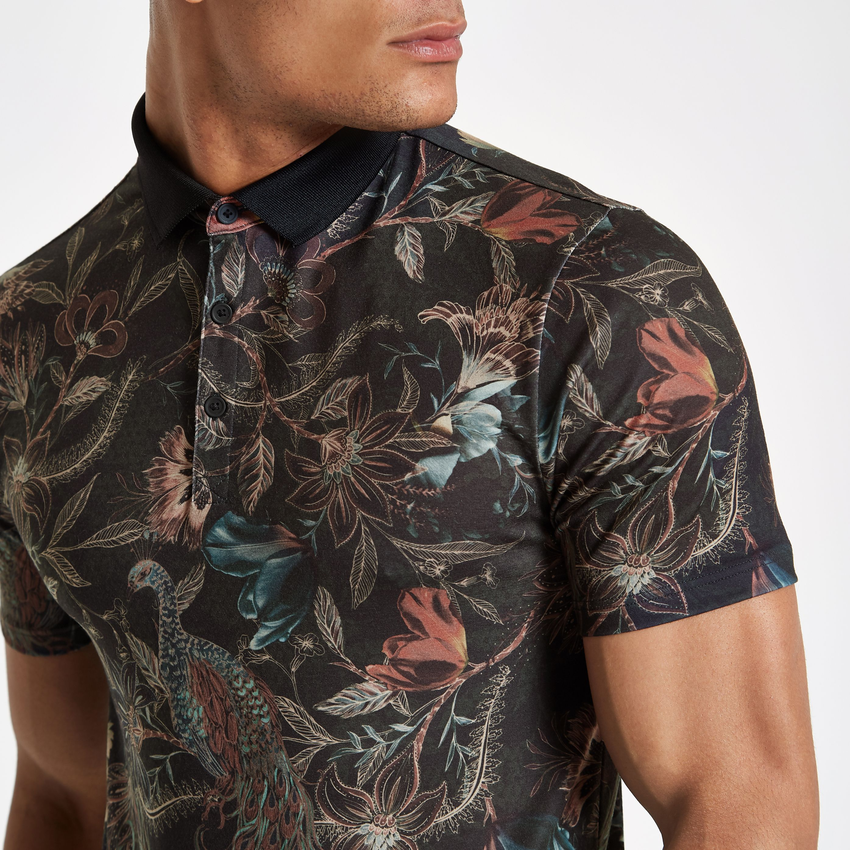 Tymhgt Mens Short Sleeve Slim Exercise Floral Button Down Polo Shirt
