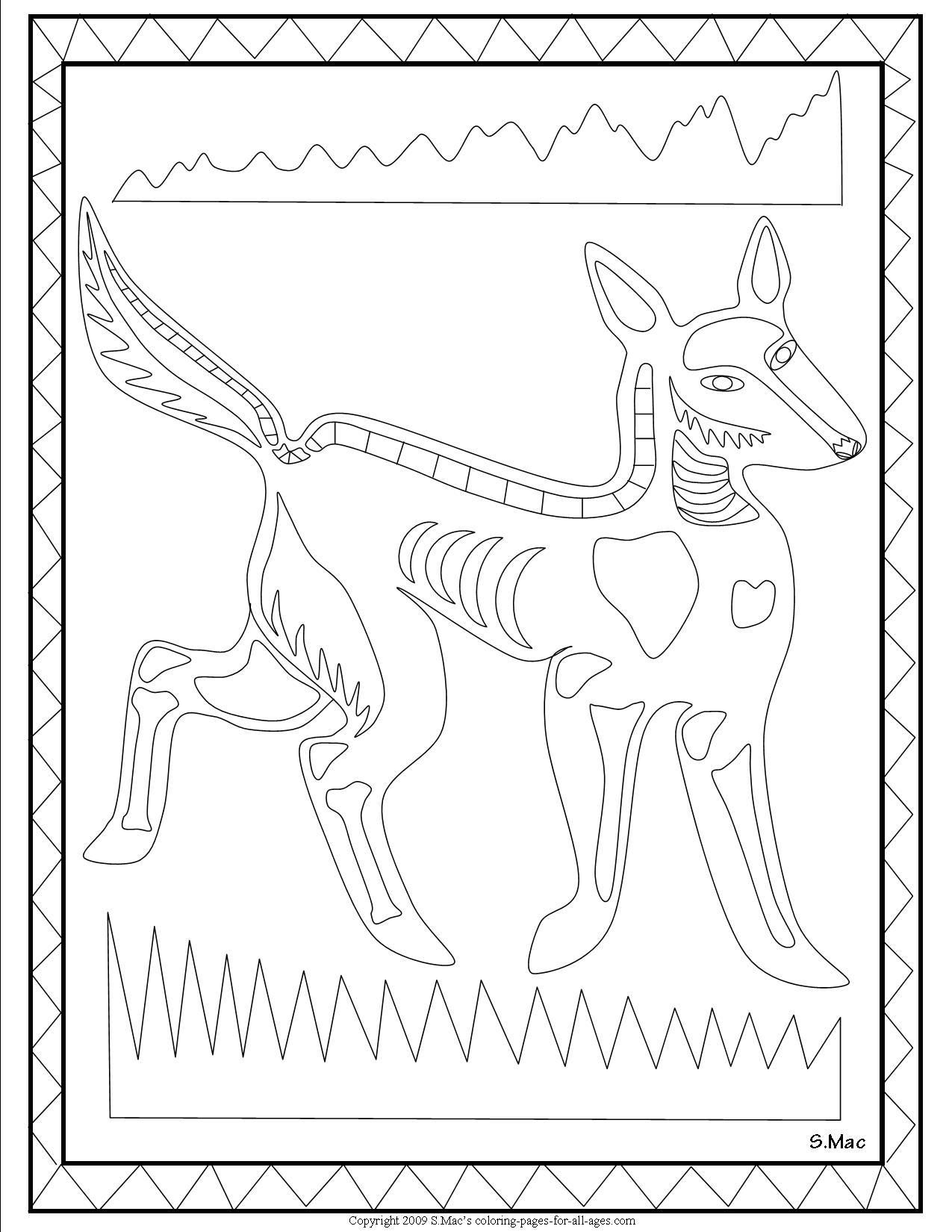 Sc S X Ray Art Dingo Coloring Page