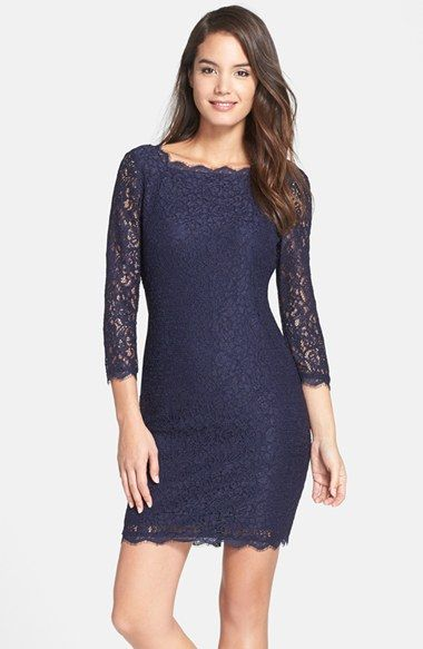 Adrianna papell lace sheath dress black