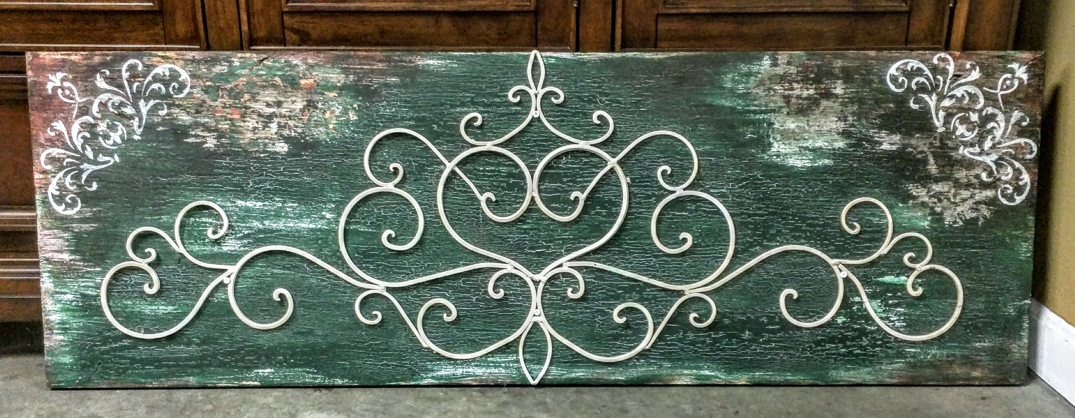 Handmade rustic wood and wrought iron headboard, hunter