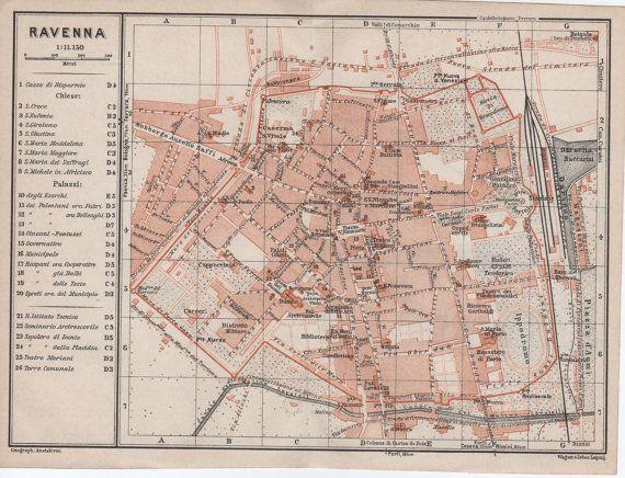 1928 Ravenna Italy Antique Map Province of Ravenna Emilia