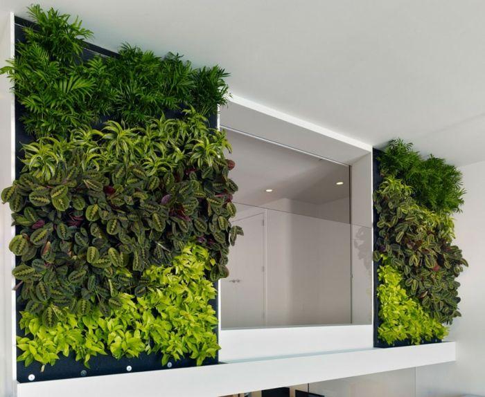 wände gestalten frische grüne pflanzen symmetrisch   DIY Deko ...
