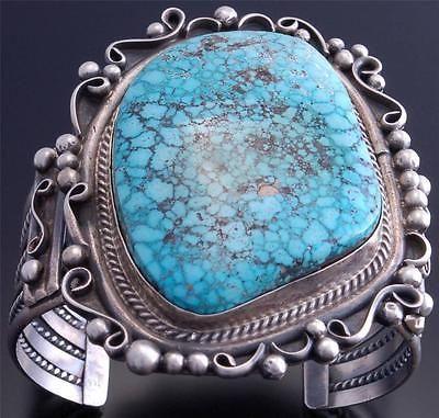 Large-Stone-Natural-Kingman-Turquoise-Silver-Navajo-Bracelet-Betta-Lee-VN60H
