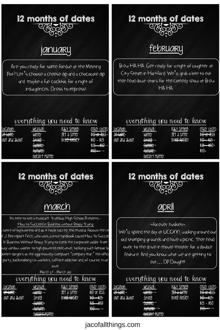 12 Months of Dates - Date Night Gift Idea   Best boyfriend gifts, Date night gifts, Girlfriend ...