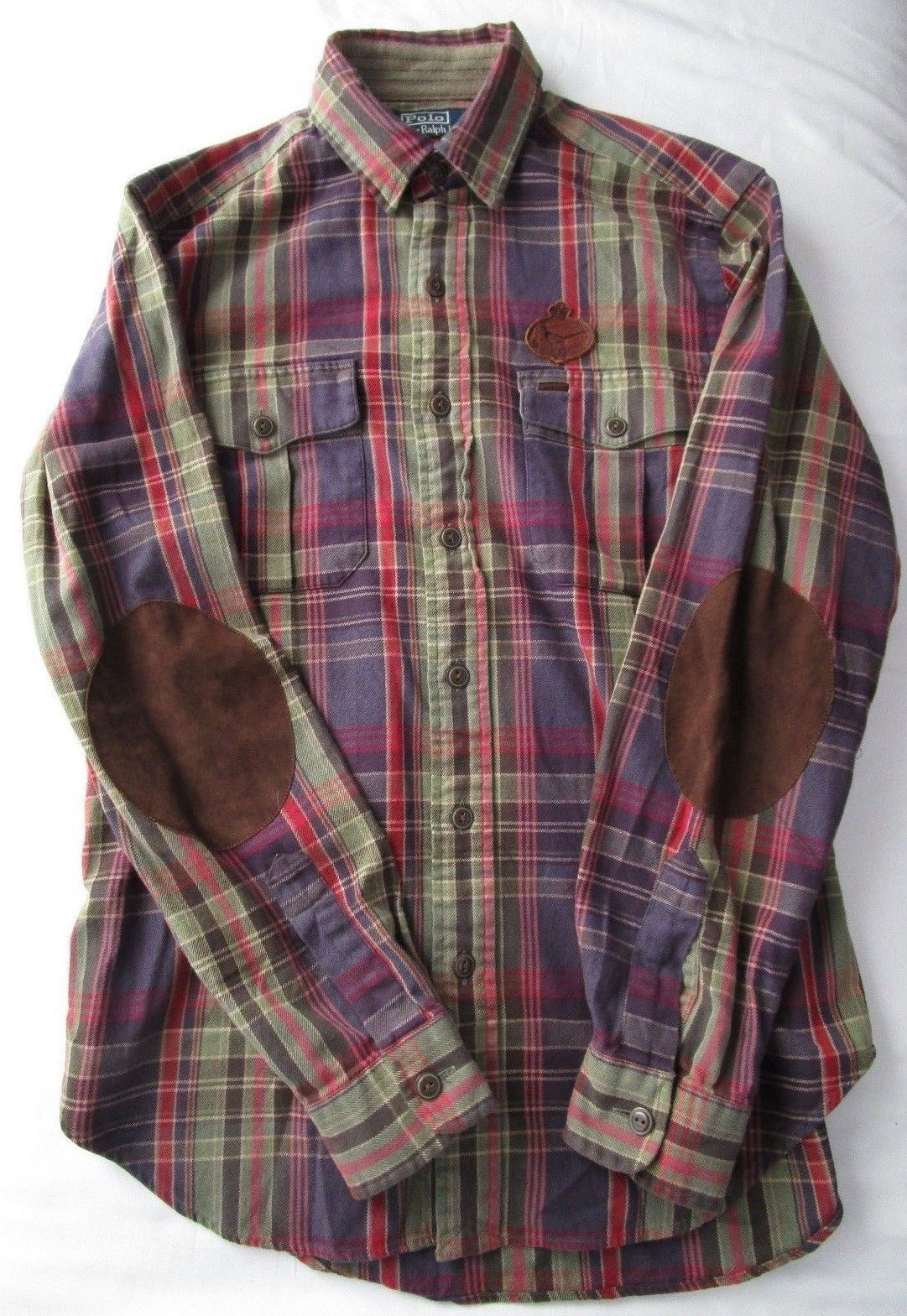 Vintage polo ralph lauren leather pheasant crest plaid for Mens flannel shirt with elbow patches