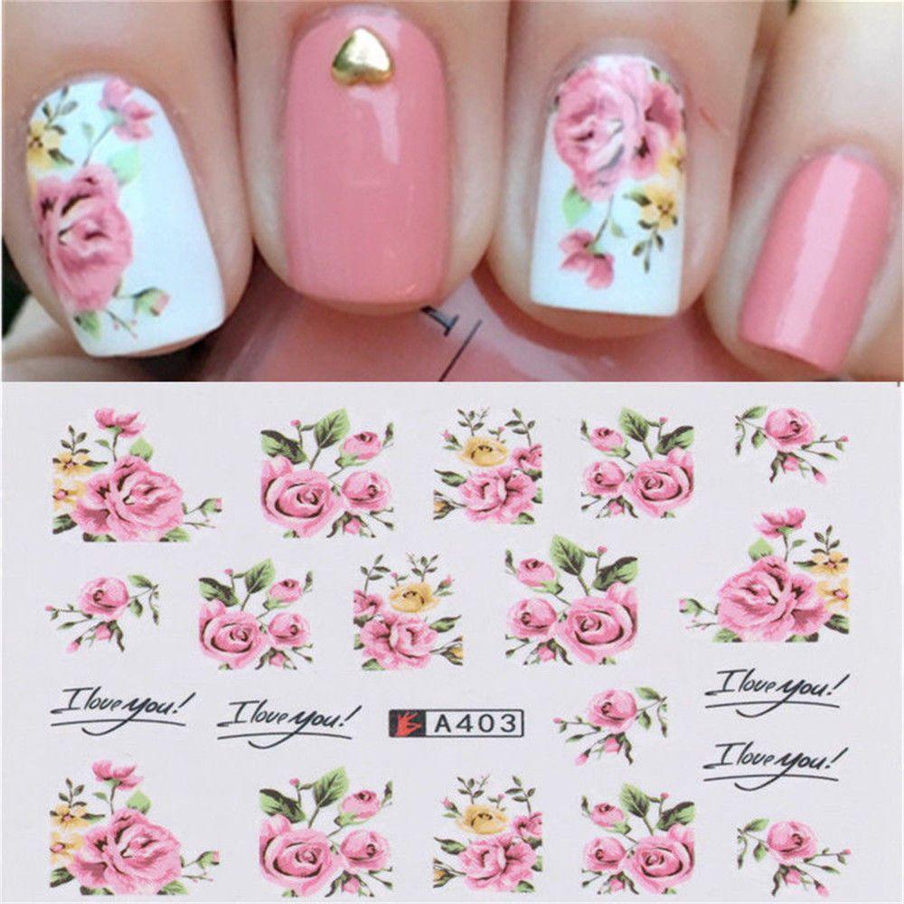 0 99 Gbp 2pcs Pink Rose Flower Vine For Diy Nails Art Water