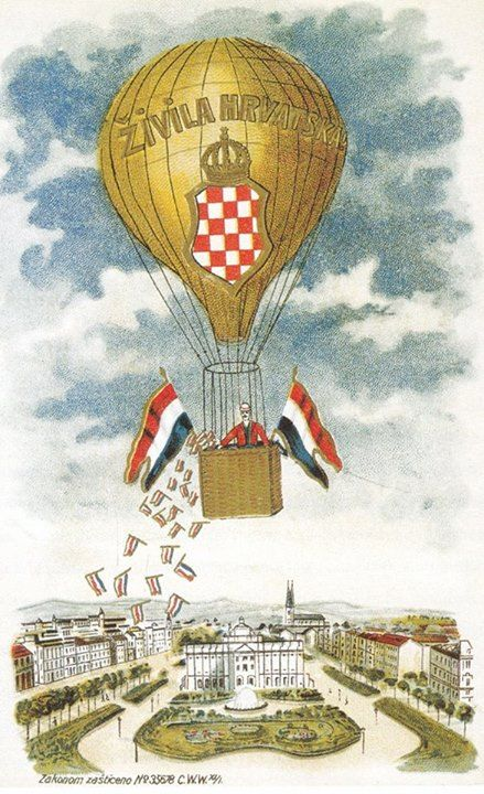 Zagreb 1889 Plakat Zivjela Hrvatska Croatia Flag Croatian Flag Zagreb