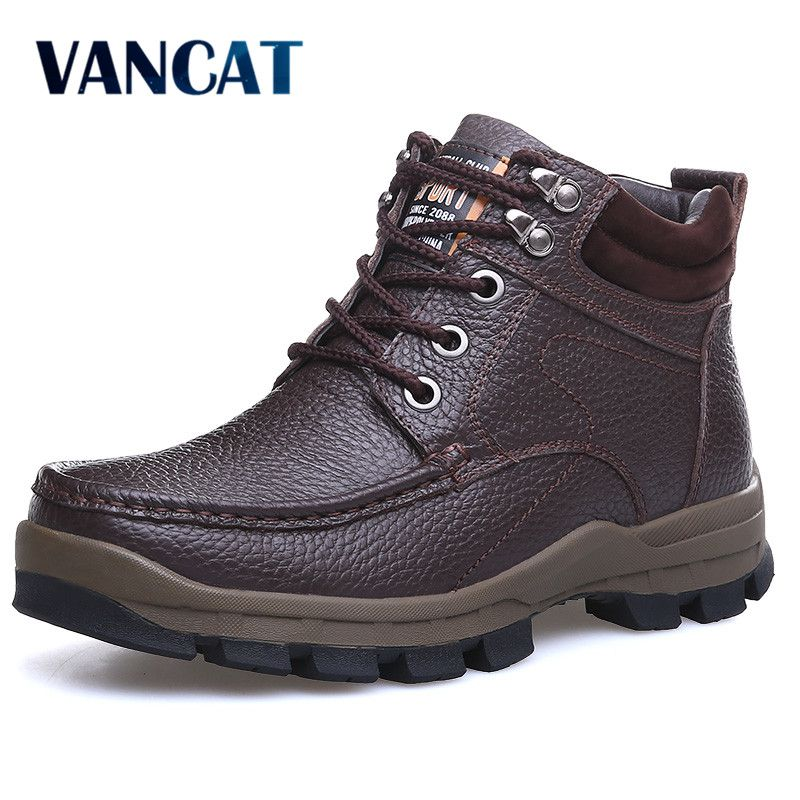 2eaad9dba3 VANCAT Winter Brand Big Size Men Shoes Martin Boots Genuine Leather Warm  Snow Boots Casual Men