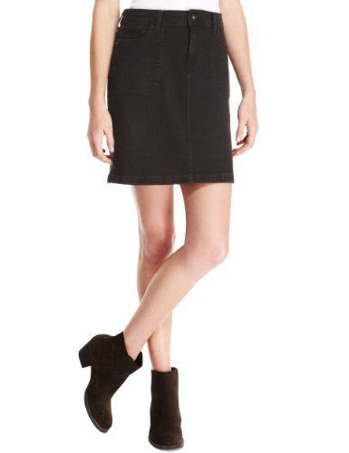 Cotton rich short black denim skirt - size 8 - 20. | Short Denim ...