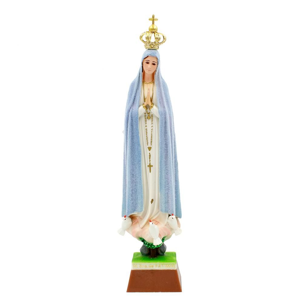 """Features Hand Painted and Hand Decorated Made of Polystyrene Resin Measurements – 12"""" Inches (Height) The Mantle of the Statue Always Change the Color with the Weather Since These Figurines Are Handmade And Painted Some Pieces May Be Slightly Different Than The Pictures Posted REF #1025H Product Description A beautiful reminder to live the Fatima message, this stunning Our Lady statue is made in Fatima, Portugal. It's been lovingly hand-painted and hand-decorated by local artisans. A unique feat"""