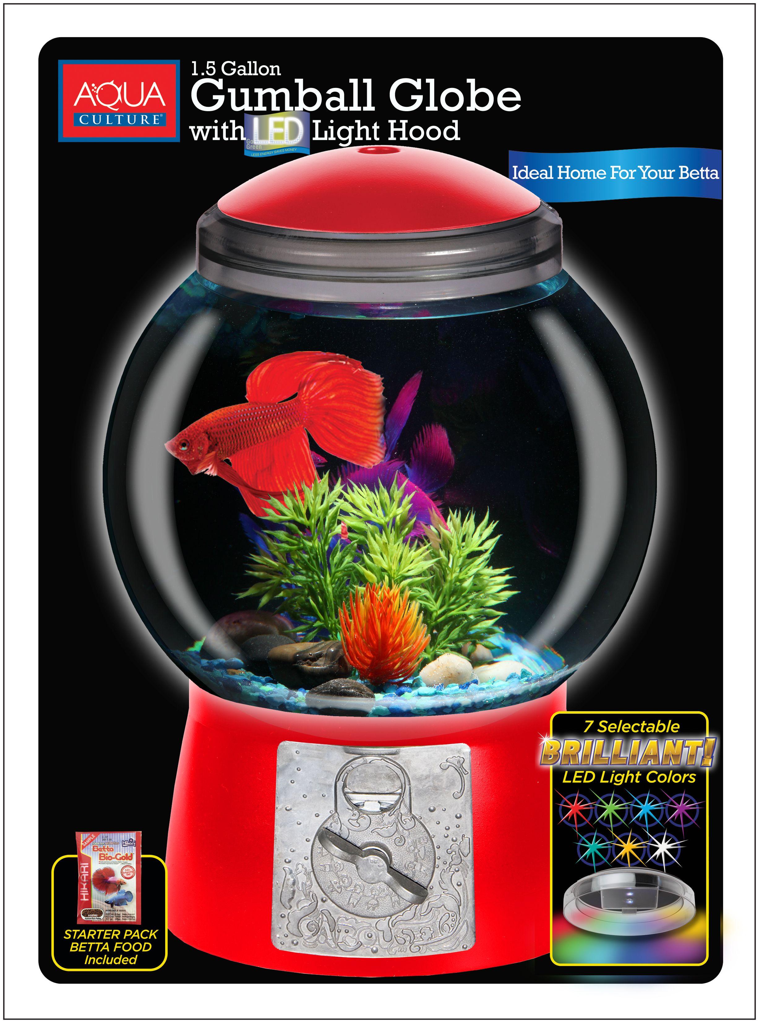 Aqua culture 15gallon gumball aquarium with led lighting