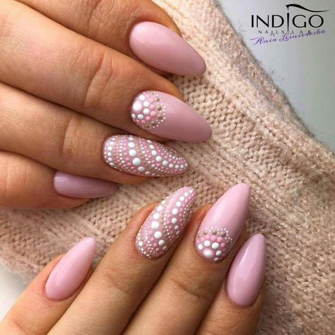 Dusty Rose Nails With Intricate Dot Design Gnails Pinterest