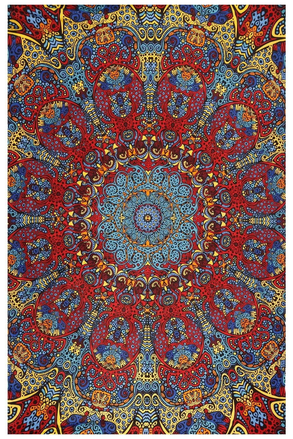 3d Psychedelic Sunburst Tapestry Glow in the Dark 60 x 90
