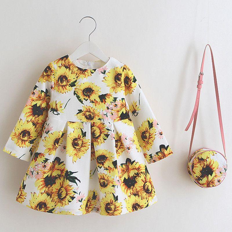 Vintage Sunflowers Kids Dress With Bag Toddler girl