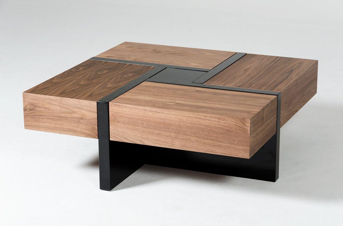 Modrest Makai Modern Walnut Black Square Coffee Table Coffee