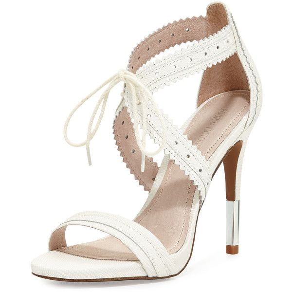 Pour la Victoire Shanna Crisscross Leather Sandal ($155) ❤ liked on Polyvore featuring shoes, sandals, cream, open toe leather sandals, tie shoes, cream shoes, pour la victoire shoes and cream sandals