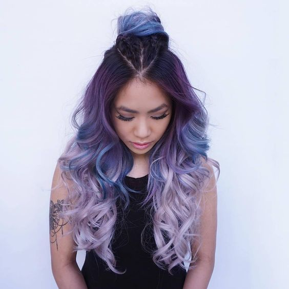 Dark Purple To Light Lavender Ombre Hair Mermaid Hair Color Hair Styles Hair Inspiration Color