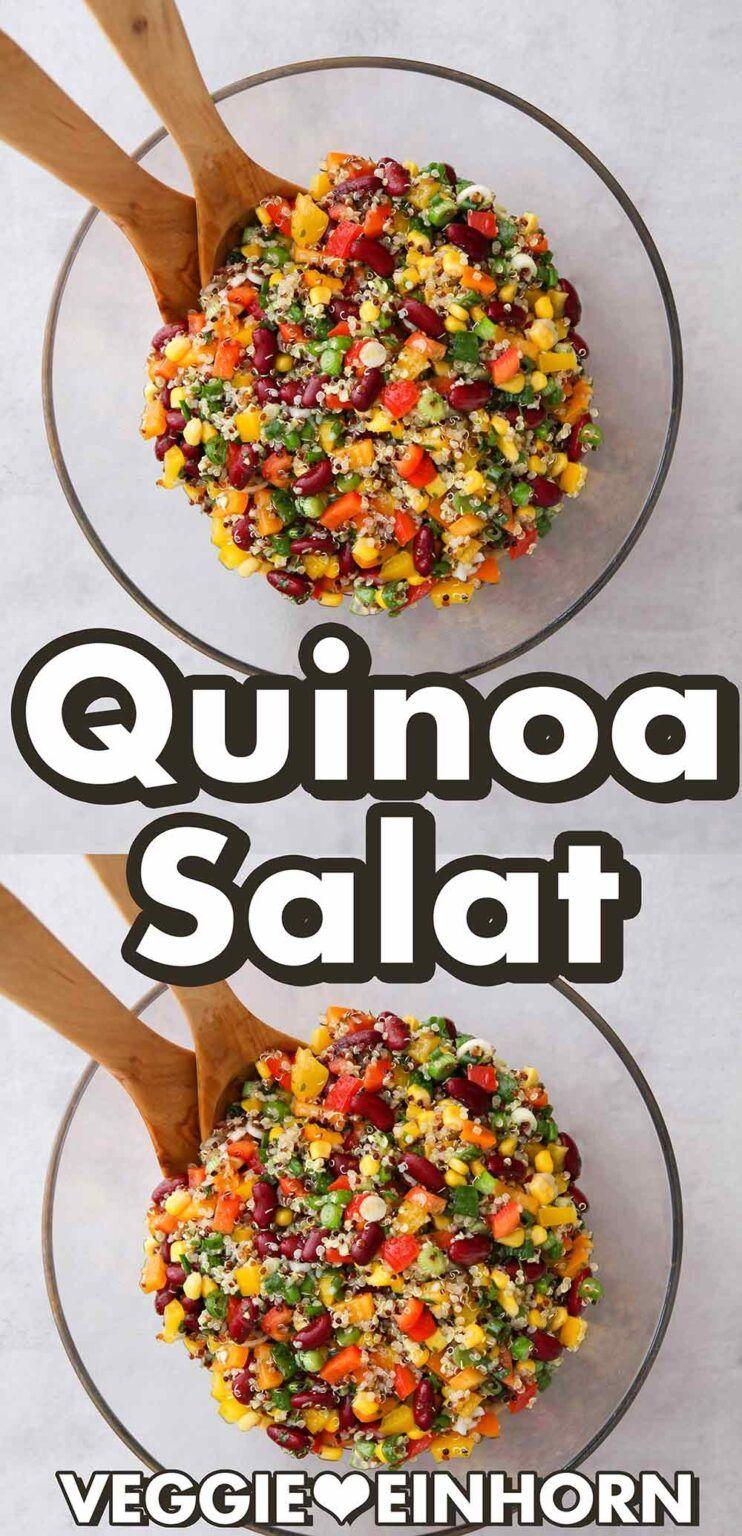 Veganer Quinoa-Bohnen-Salat mit Mais und Paprika