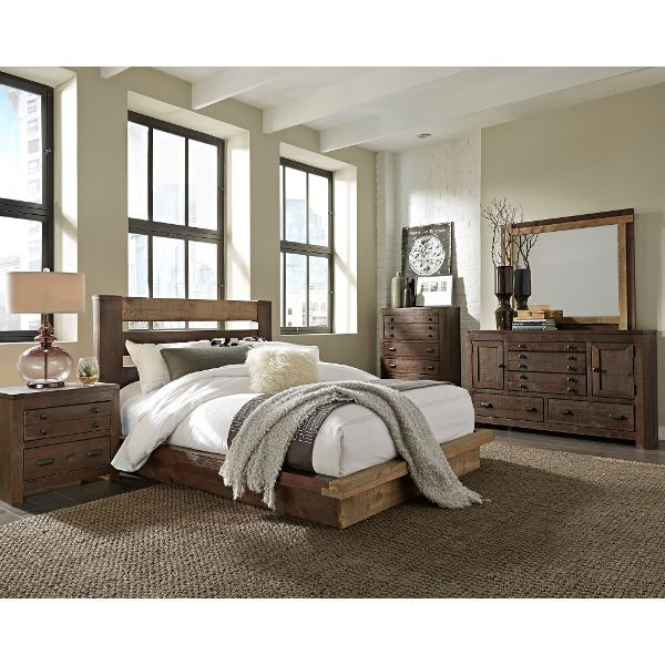Dark Pine Rustic Contemporary 6 Piece King Bedroom Set Trilogy