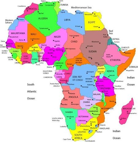 africa map showing capital cities