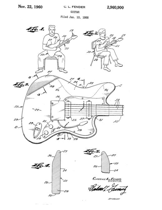 leo fender  u2013  u0026quot body shape patent  u0026quot  on january 13  1958 u201457 years ago u2014leo fender applied for a