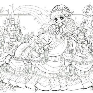 ぬりえ姫プリンセスローゼ ぬり絵 塗り絵ぬりえぬり絵