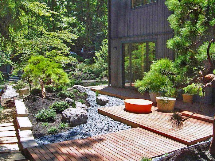 Wie Gestalte Ich Meinen Garten, Villa Im Gebirge, Natur, Steine, Bäume Und
