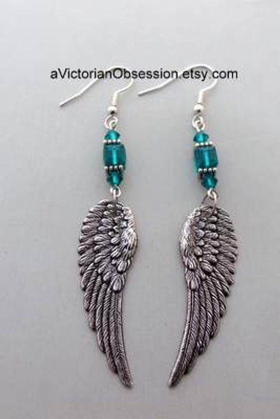 Angel Wings chandelier earrings teal aqua silver earrings