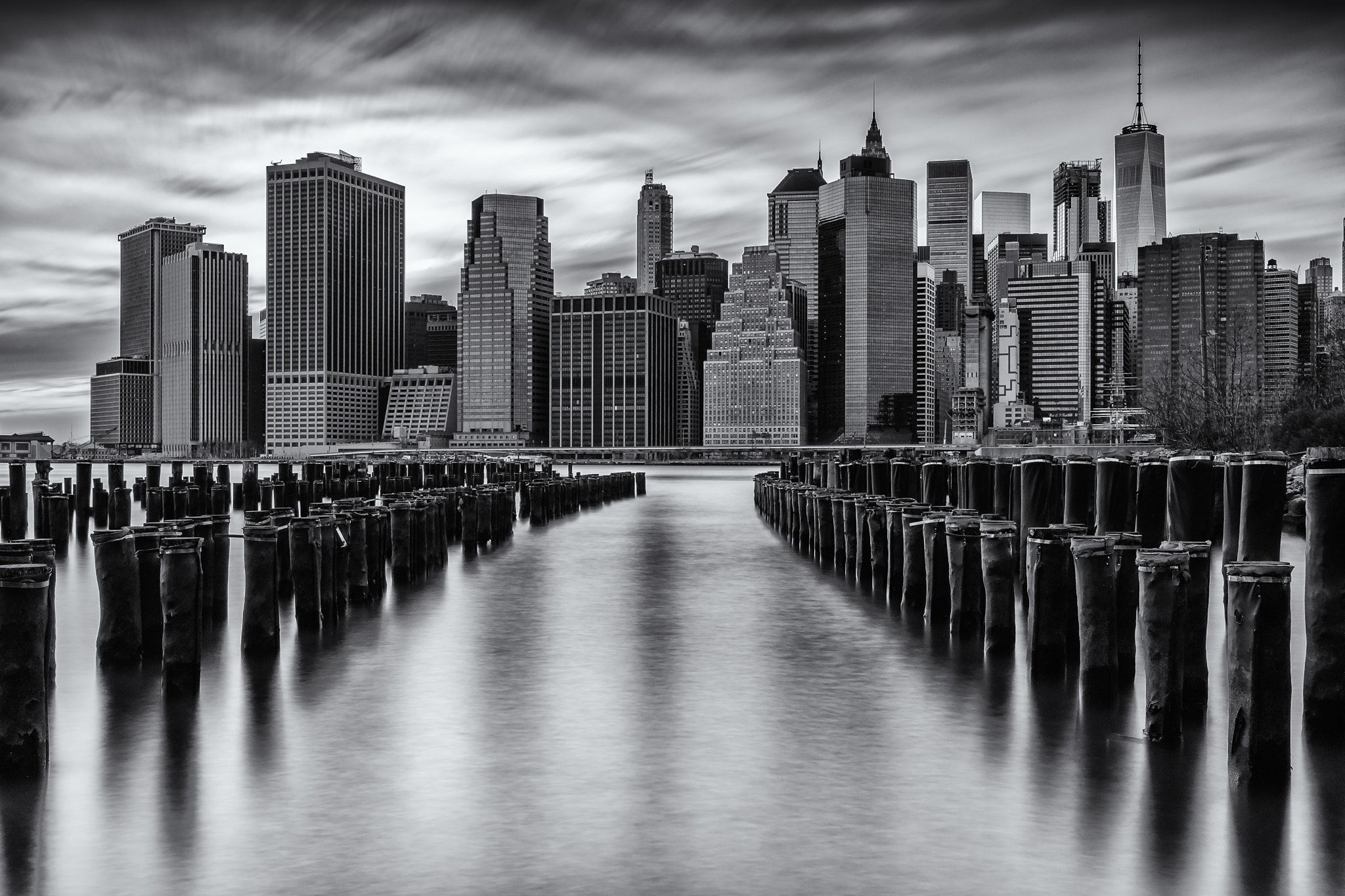 "New York Minute - ""New York Minute"" - 60 seconds long exposure of the Lower Manhattan skyline from Brooklyn Bridge Park capaturing one minute in time.in NYC."