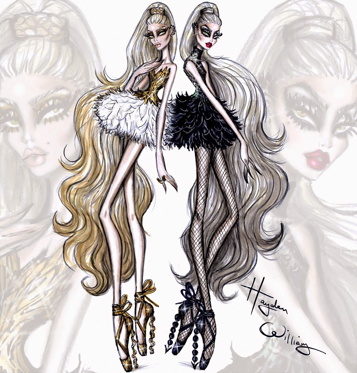 Hayden Williams Fashion Illustrations: Couture Ballet by Hayden Williams: 'Dual Danseuse'