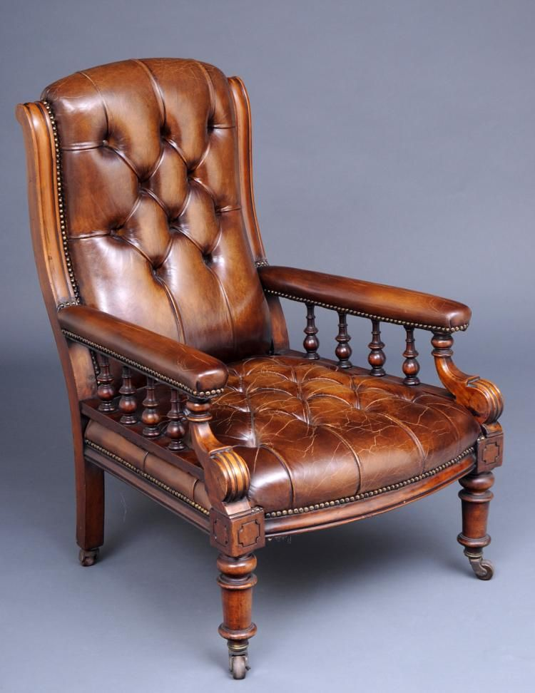 English Victorian Mahogany And Leather Library Armchair Cir