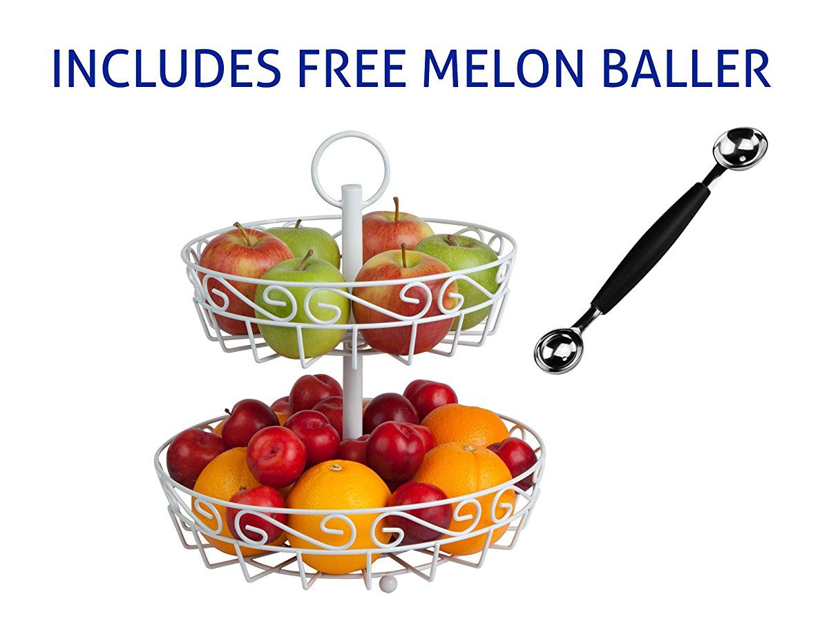 Cream 2-tier fruit basket stand with FREE melon baller. A stunning  centerpiece for