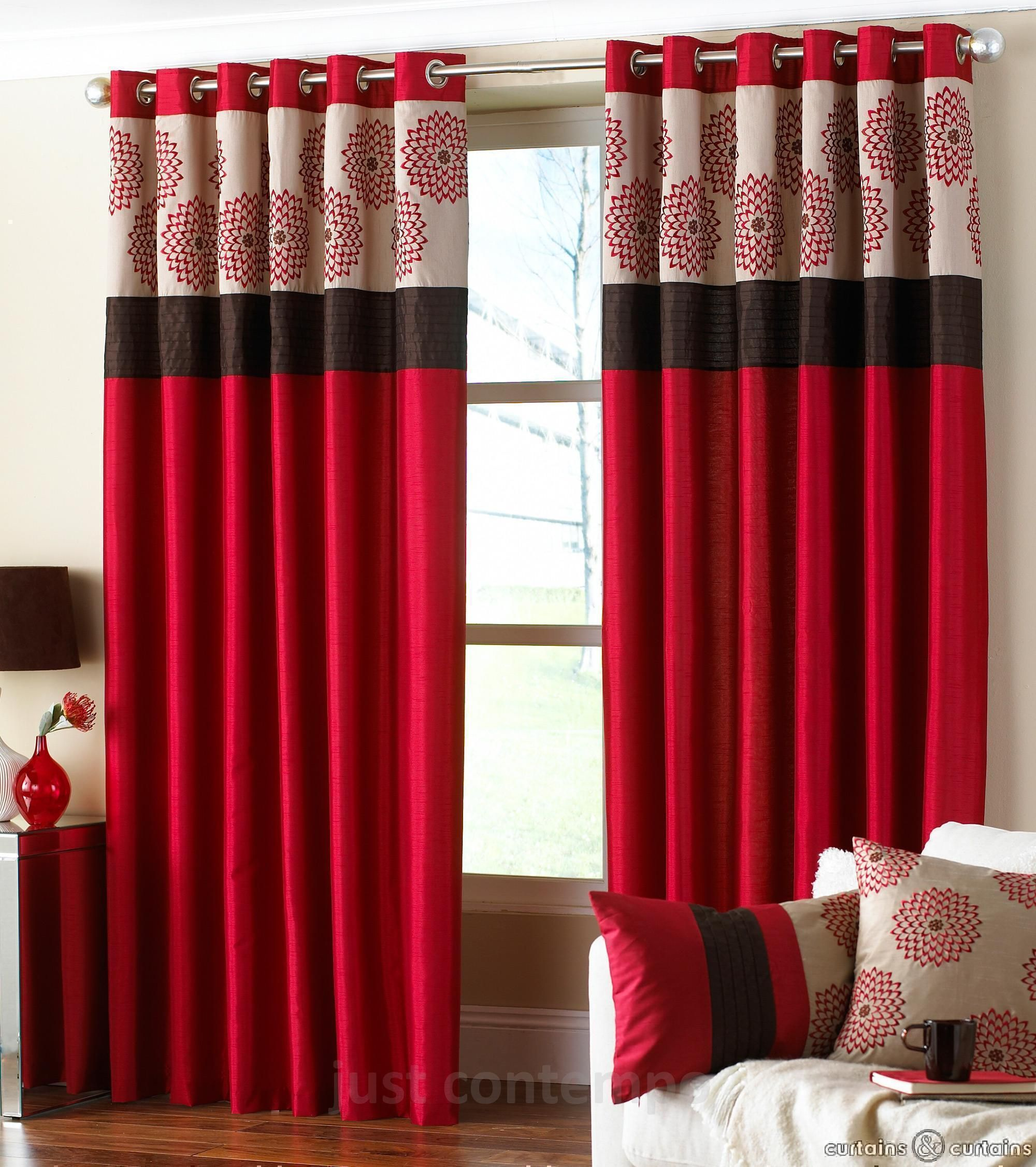 Clarimont Red Brown Designer Lined Curtains Red curtains
