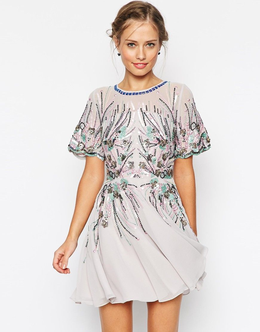 Asos wedding guest dresses with sleeves  ASOS Iridescent Sparkle Mesh Skater Dress  Style  Pinterest