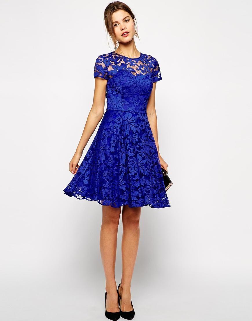 Ted Baker  Kurze blaue kleider, Kleid spitze, Blaues spitzenkleid