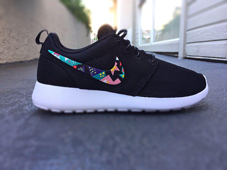 Nike shoe · Womens Custom Nike Roshe Run sneakers,Teal and hot Pink, White,  Aztec,