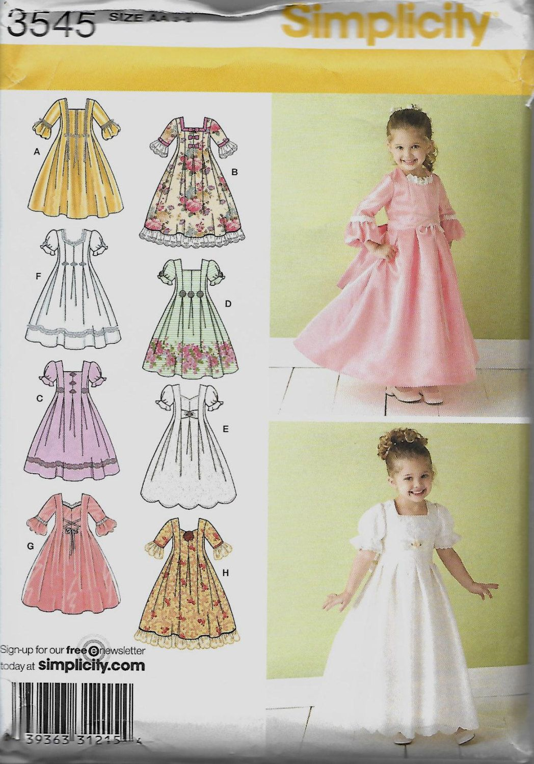 Simplicity Little Girls Special Occasion Dress