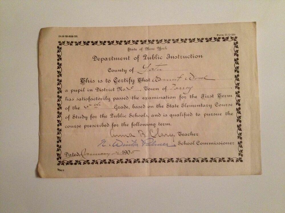 Antique 1905 School Certificate Yates County NY Grade