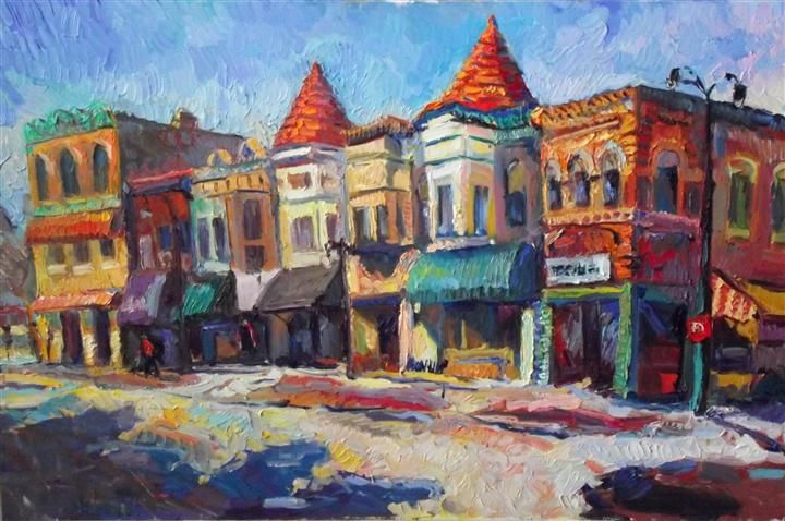 "Original art for sale at UGallery.com | Sunny Day in Town (Dekalb) by Suren Nersisyan | $875 | oil painting | 24"" h x 36"" w 