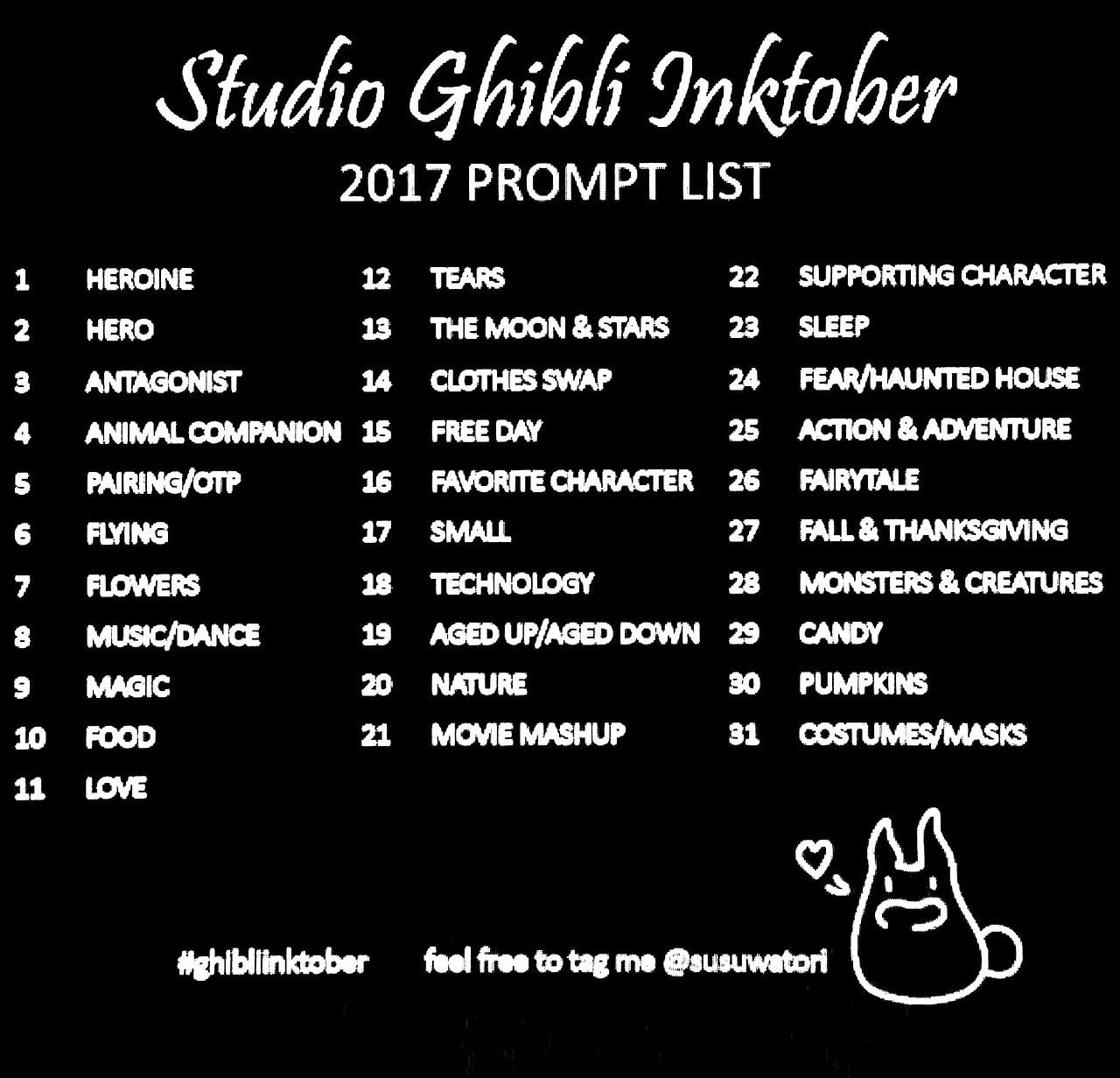 ☆ Studio Ghibli ☆: Photo #drawingprompts It's that time of year again! I made a prompt list that you can follow, and I will try to draw along I...