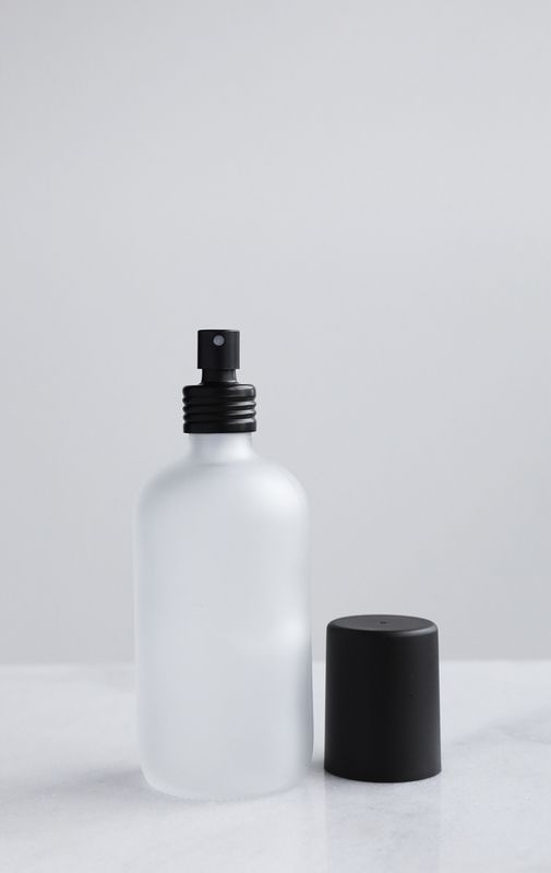 Apothecary Frosted Glass Mist Bottle W Black Aluminum Mist Nozzle Cap Frosted Glass Spray Glass Spray Bottle Homemade Linen Spray