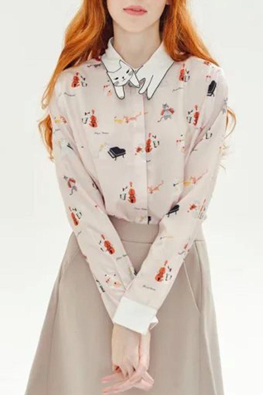 Adorable Cat Print Long Sleeve Button Down Shirt