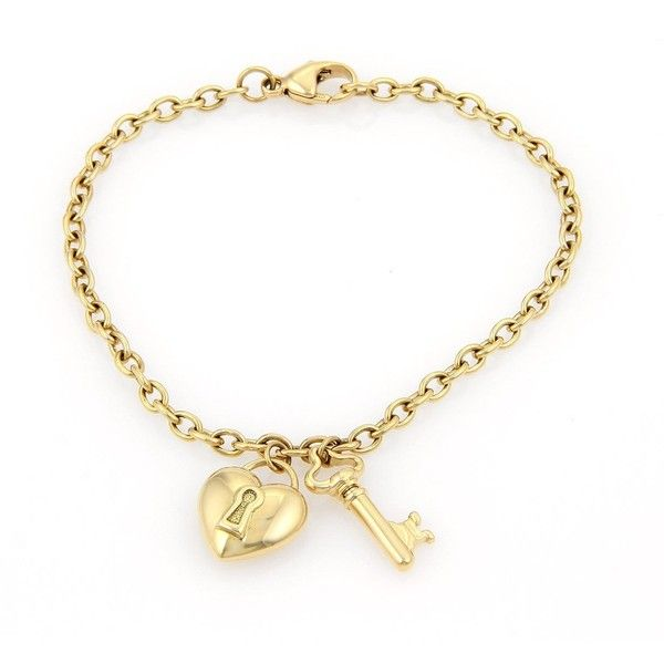 5dffeac12 Pre-owned Tiffany & Co. 18k Heart Lock and Key Charm Bracelet ($1,295) ❤  liked on Polyvore featuring jewelry, bracelets, bracelet charms, charm  bracelet, ...