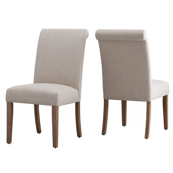 Petrolia Linen Upholstered Dining Chair In Beige In 2020 Parsons