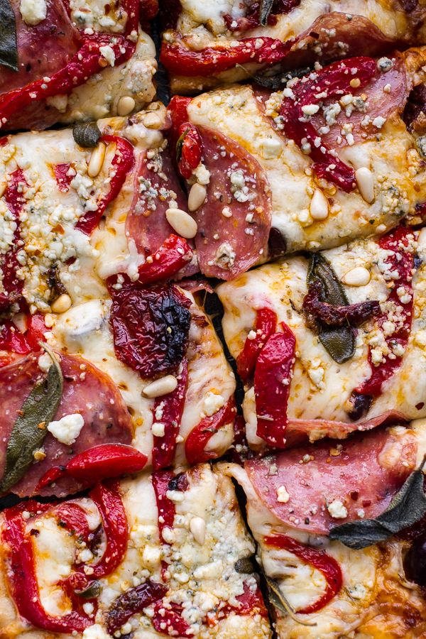 Sun-Dried Tomato and Olive Pesto Pizza with Salami + Roasted Red Peppers | halfbakedharvest.com @hbharvest