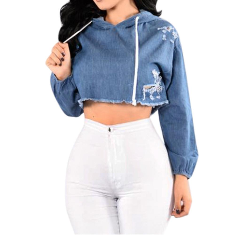 New Blue Denim Blouse Women Long Sleeve Jean Hoodie Hole Hooded