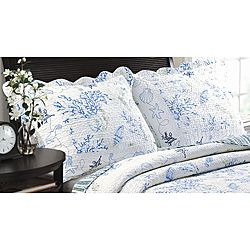 Greenland Home Fashions Coral Blue 3-Piece Quilt Set - Overstock Shopping - Great Deals on Quilts